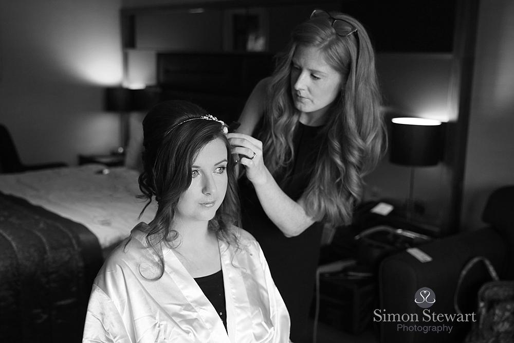 Bride getting ready at Felbridge Hotel