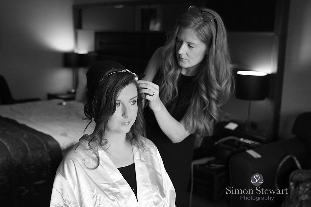 Bride getting ready at Felbridge Hotel