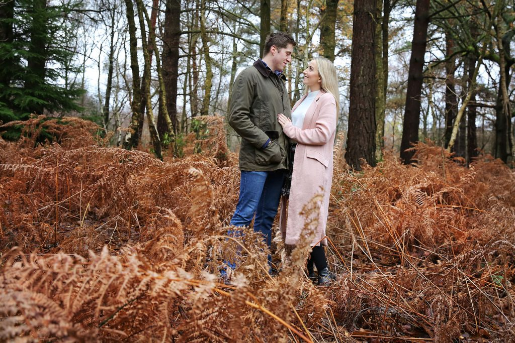 Couple in woods for sussex engagement session